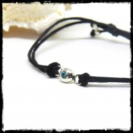 Modern sliding bracelet and end cord - Sterling silver and blue topaze