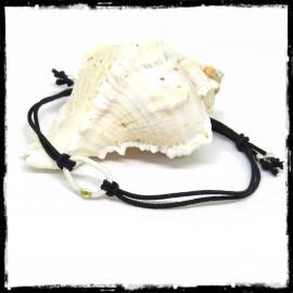 Bracelet fin coulissant cordon et motif ovale en argent massif et grain d'Or
