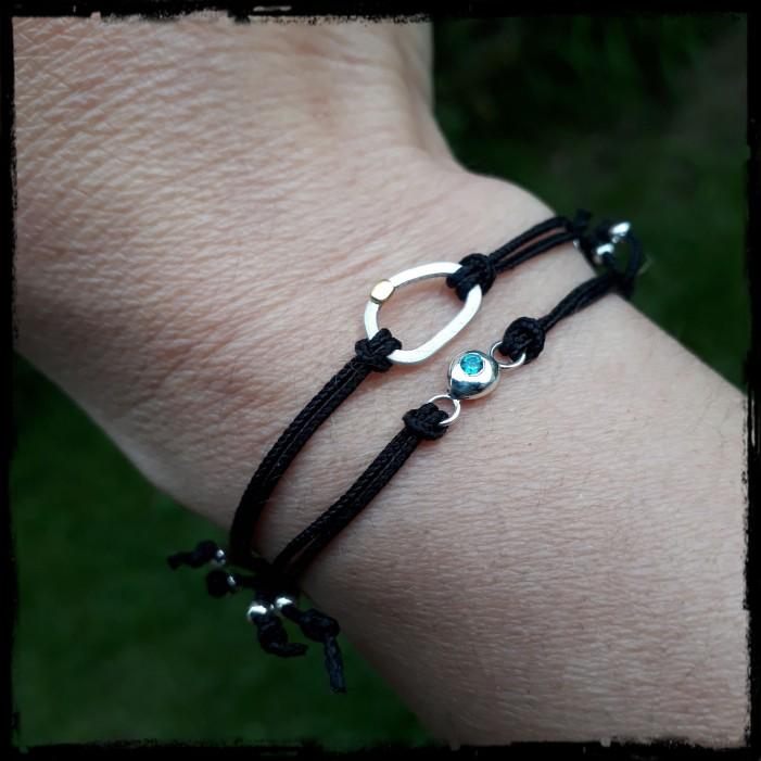 Bracelet coulissant moderne et fin cordon - Argent massif et oxyde de zirconium -