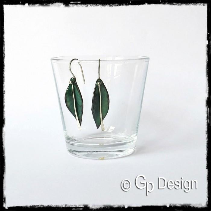 Boucles d'oreilles emaux sur cuivre forme feuille argent 950 - vert