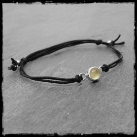 Fine Adjustable Bracelet Sterling Silver and Chalcedony Black Silk Cord