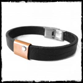 Man bracelet in black leather wide modern design and minimalist copper and sterling silver
