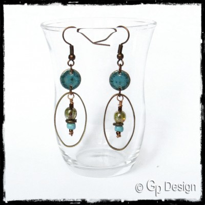 Long earrings Bohemian style earrings - enamel on copper -blue Czech glass beads and ceramics