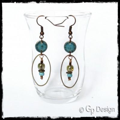 Longues boucles d'oreilles style Bohème - émaux sur cuivre bleu- Perles tchèques et céramiques