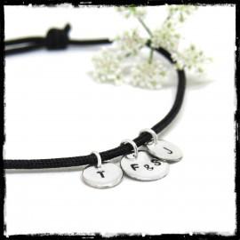 Bracelet pampilles en Argent massif sur cordon soie noire personnalisable
