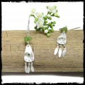 Bohemian and delicate earrings in sterling silver and peridots