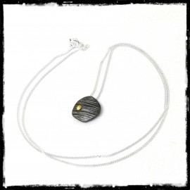 Designer pendant on fine silver chain and gold grain - contemporary style