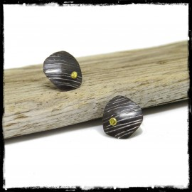 Boucles d'oreilles design Argent massif et grain d'or -style contemporain- patine gris noir