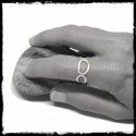 Open ring contemporary design in 925/1000 Sterling Silver and native gold grain
