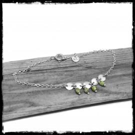 Bracelet bohème romantique en argent massif et perles de verrre