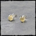 Sterling silver 925 round elegant studs yellow opal chalcedony