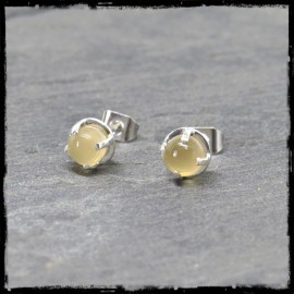 Round ear studs with chalcedony set in sterling silver