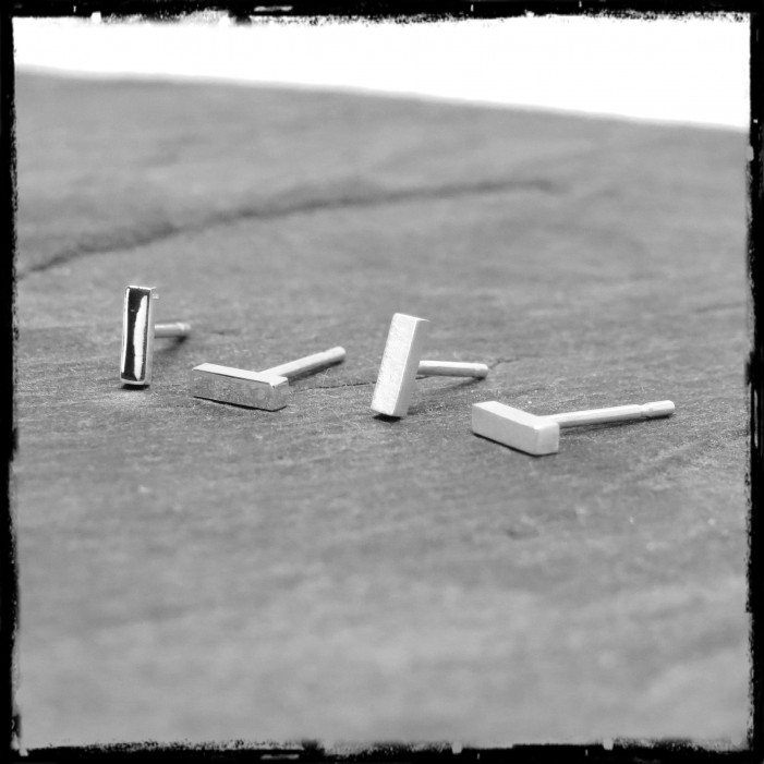 Small minimalist barr earstudss in sterling silver mirror polished finish