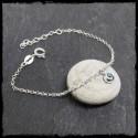 Bracelet fin chaîne galet en argent massif et pierre gemme au choix