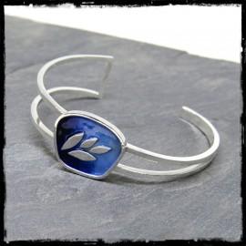 Bracelet jonc ouvert en argent massif 925 et emaux motif végétal