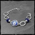Bracelet large avec anneaux en argent massif 925 et émaux motif végétal - asymétrique et original