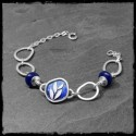 Wide bracelet with 925 solid silver rings and blue enamels - asymmetrical and original