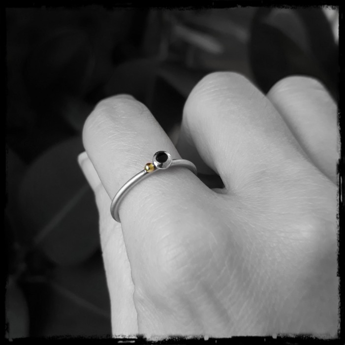 Minimalist solid silver ball ring, black enamel inlay and native gold -brushed satin