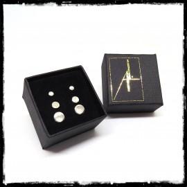 Coffret Puces d'oreilles minimalistes rondes en argent massif finition au choix