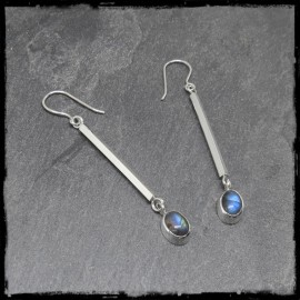 Very long earrings very design bars in solid silver and labradorite
