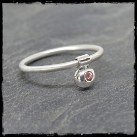 Fine ring anti-stress solid silver organic form stone customizable
