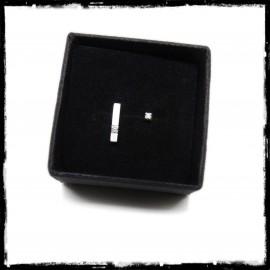 Minimalist design asymmetrical bar ear studs in solid silver and 1.5mm zirconium oxide