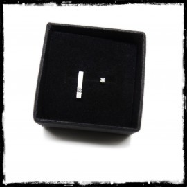 Minimalist design asymmetrical bar ear studs in solid silver and 1.5mm zirconium oxide
