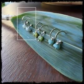 Boucles d'oreilles anneau ouvert style bohème en argent massif et Amazonites claires