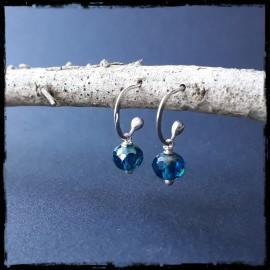 Boucles d'oreilles anneau ouvert style bohème en argent massif et pierres naturelles