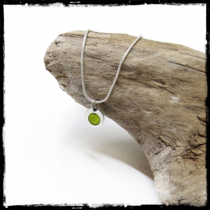 Modern and minimalist round pendant necklace Sterling silver and stained glass effect enamels