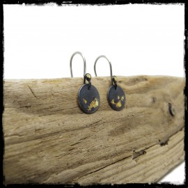 Contemporary earrings in patinated sterling silver and keum boo gold leaf