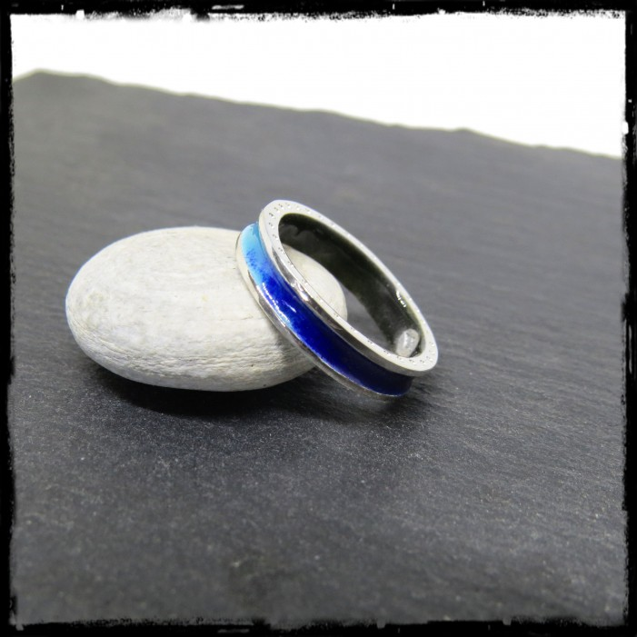Ring in sterling silver and real blue enamels- Original and design