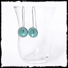 Boucles d'oreilles Design épuré longues -Emaux sur cuivre - Tige argent massif