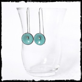 Earrings very design - Long - enamels on copper green turquoise - silver Rod - Customizable colors - Jewelry designers