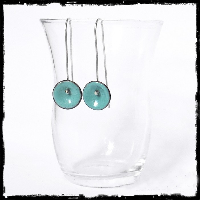 Earrings Design long enamels on copper and silver