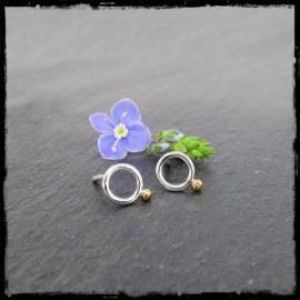 Mini Puces d'oreilles cercle minimaliste Argent massif et bille d'Or