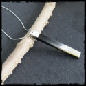 Modern pendant necklace in horn and sterling silver contemporary style