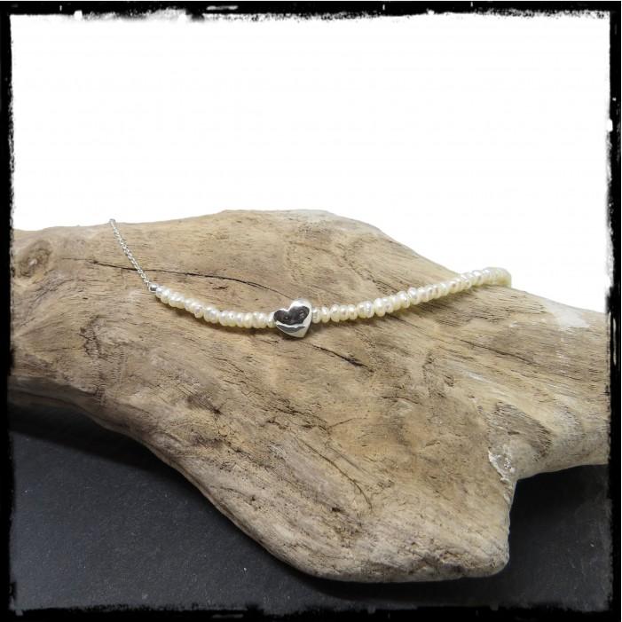 Collier ras cou Saint Valentin perles naturelles et coeur argent massif