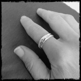 Bague 3 anneaux demi-jonc Trianon en Argent massif