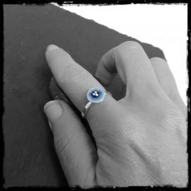 Bague romantique fleur bleue en émaux véritables et Argent massif