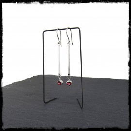 Very Long and thin designer earrings in solid silver and 4mm garnet