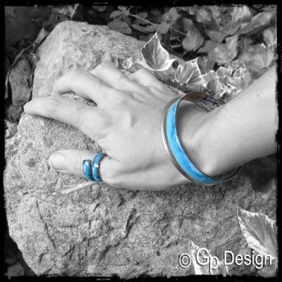 Parure Main - Bague et bracelet jonc style rustique et élégant - émaux sur cuivre- couleurs et tailles personnalisables-