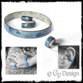 Parure Bracelet jonc large rustique et bague assortie- Emaux sur cuivre - personnalisable