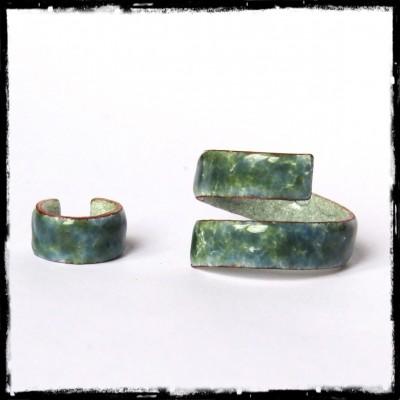 Parure Bracelet bague bague d'oreille assorties- Emaux sur cuivre - personnalisable