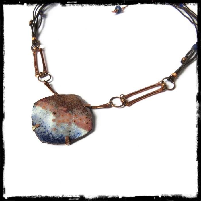 Collier talisman between land and sea pendant in enamels on collier talisman between land and sea pendant in enamels on copper unique aloadofball Choice Image