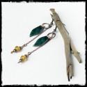 Boucles d'oreilles - Style bohème- Cuivre brut et cuivre émaillé- vert - longues et originales