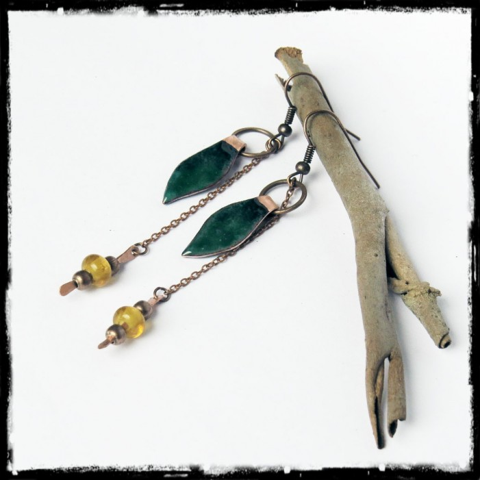 Earrings - Bohemian style- Copper and copper raw green émaillé- - Long and original