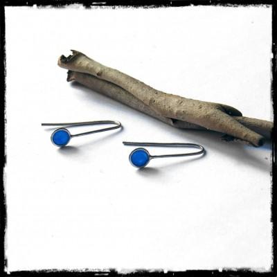 Boucles d'oreilles Minimalistes Design Argent massif et Verre- Légères et ultra féminines