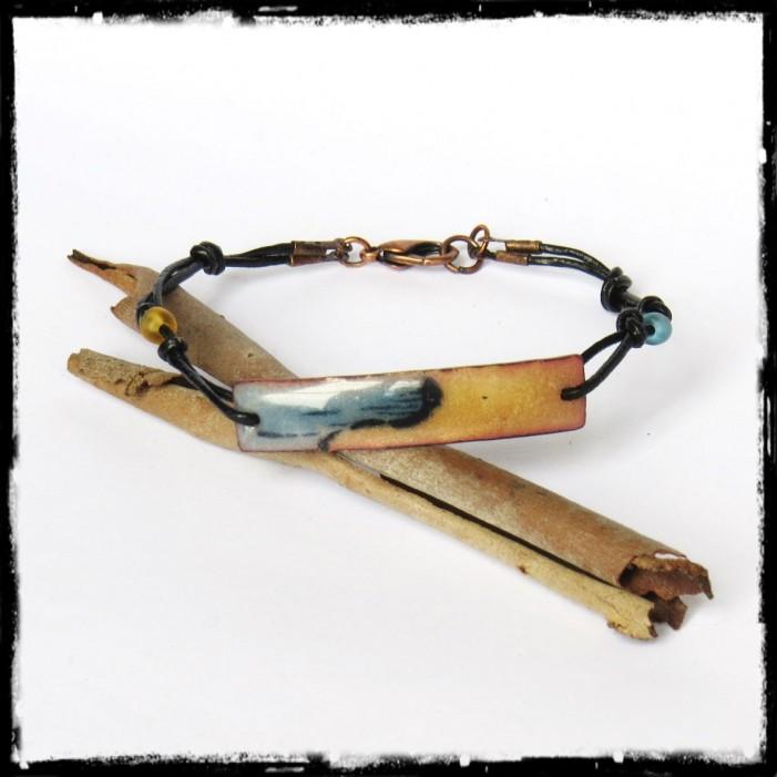 Bracelet fin style gourmette - Plaque en emaux sur cuivre - Graphique -Bracelet de créateur