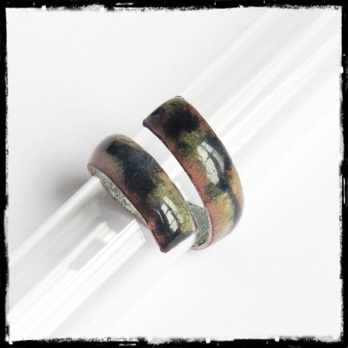 Rustic ring enamels on copper - inch ring - blue